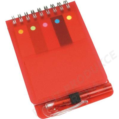 Poznámkový mini blok s propiskou, červený