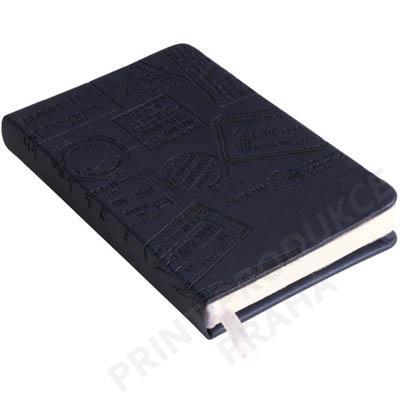 Zápisník s elastickým zavíráním, s kapsou na poznámky, černá